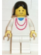 Minifig No: ncklc006  Name: Necklace Red - White Legs, Black Female Hair