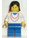 Minifig No: ncklc008  Name: Necklace Red - Blue Legs, Black Female Hair