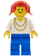 Minifig No: ncklc011  Name: Necklace Gold - Blue Legs, Red Pigtails Hair