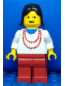 Minifig No: ncklc013  Name: Necklace Red - Red Legs, Black Female Hair