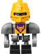 Minifig No: nex094  Name: Axl Bot - Dark Bluish Gray Shoulders and Yellow Helmet