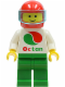 Minifig No: oct003  Name: Octan - White Logo, Green Legs, Red Helmet, Trans-Light Blue Visor