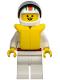 Minifig No: oct007  Name: Octan - Race Team, White Legs, White Red/Green Striped Helmet, Black Visor, Life Jacket