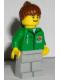 Minifig No: oct008  Name: Octan - Green Jacket with Pen, Light Gray Legs, Brown Ponytail Hair