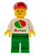 Minifig No: oct012new  Name: Octan - White Logo, Green Legs, Red Cap Short Bill (Reissue)