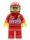 Minifig No: oct026  Name: Octan - Racing, Red Legs, Red Helmet 7 White Stars, Trans-Light Blue Visor