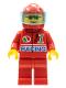 Minifig No: oct026  Name: Octan - Racing, Red Legs, Red Helmet 7 White Stars, Trans-Light Blue Visor