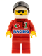 Minifig No: oct031  Name: Octan - Racing, Red Legs, White Helmet, Black Visor