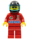 Minifig No: oct032  Name: Octan - Racing, Red Legs, Black Helmet, Trans-Light Blue Visor