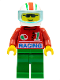 Minifig No: oct033  Name: Octan - Racing, Green Legs, White Red/Green Striped Helmet, Trans-Light Blue Visor