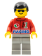 Minifig No: oct035  Name: Octan - Racing, Light Gray Legs, Black Male Hair