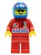 Minifig No: oct039  Name: Octan - Racing, Red Legs, Blue Helmet 4 Stars & Stripes, Trans-Light Blue Visor