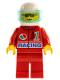 Minifig No: oct040  Name: Octan - Racing, Red Legs, White Helmet, Trans-Light Blue Visor