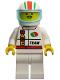 Minifig No: oct045  Name: Octan - Race Team, White Legs, White Red/Green Striped Helmet, Trans-Light Blue Visor