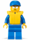 Minifig No: oct056  Name: Octan - Blue Oil, Blue Legs, Life Jacket, Blue Short Bill Cap
