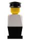 Minifig No: old024  Name: Legoland - White Torso, Black Legs, Black Hat