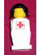 Minifig No: old046s  Name: Legoland - White Torso, White Legs, Black Pigtails Hair, Red Cross Sticker