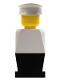 Minifig No: old048  Name: Legoland - White Torso, Black Legs, White Hat