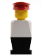 Minifig No: old049  Name: Legoland Old Type - White Torso, Black Legs, Red Hat