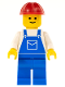 Minifig No: ovr001  Name: Overalls Blue with Pocket, Blue Legs, Red Construction Helmet