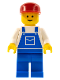 Minifig No: ovr003  Name: Overalls Blue with Pocket, Blue Legs, Red Cap