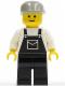 Minifig No: ovr004  Name: Overalls Black with Pocket, Black Legs, Light Gray Cap