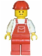 Minifig No: ovr005  Name: Overalls Red with Pocket, Red Legs, Red Construction Helmet