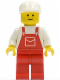 Minifig No: ovr006  Name: Overalls Red with Pocket, Red Legs, White Cap