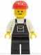 Minifig No: ovr007  Name: Overalls Black with Pocket, Black Legs, Red Construction Helmet