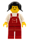 Minifig No: ovr009  Name: Overalls Red with Pocket, Red Legs, Black Pigtails Hair