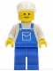 Minifig No: ovr011  Name: Overalls Blue with Pocket, Blue Legs, White Cap