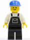 Minifig No: ovr013  Name: Overalls Black with Pocket, Black Legs, Blue Cap