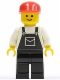 Minifig No: ovr014  Name: Overalls Black with Pocket, Black Legs, Red Cap