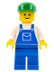 Minifig No: ovr016  Name: Overalls Blue with Pocket, Blue Legs, Green Cap