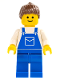 Minifig No: ovr017  Name: Overalls Blue with Pocket, Blue Legs, Brown Ponytail Hair