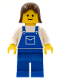 Minifig No: ovr018  Name: Overalls Blue with Pocket, Blue Legs, Brown Female Hair
