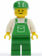 Minifig No: ovr019  Name: Overalls Green with Pocket, Green Legs, Green Cap, Standard Grin