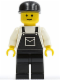 Minifig No: ovr020  Name: Overalls Black with Pocket, Black Legs, Black Cap