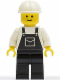 Minifig No: ovr021  Name: Overalls Black with Pocket, Black Legs, White Construction Helmet