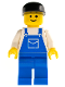 Minifig No: ovr022  Name: Overalls Blue with Pocket, Blue Legs, Black Cap