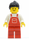 Minifig No: ovr026  Name: Overalls Red with Pocket, Red Legs, Black Ponytail Hair