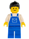 Minifig No: ovr028  Name: Overalls Blue with Pocket, Blue Legs, Black Ponytail Hair