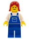 Minifig No: ovr029  Name: Overalls Blue with Pocket, Blue Legs, Red Female Hair
