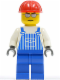 Minifig No: ovr030  Name: Overalls Striped Blue with Pocket, Blue Legs, Red Construction Helmet, Silver Glasses and Eyebrows