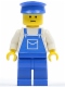 Minifig No: ovr034  Name: Overalls Blue with Pocket, Blue Legs, Blue Hat