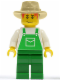 Minifig No: ovr036  Name: Overalls Green with Pocket, Green Legs, Tan Fedora