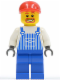 Minifig No: ovr038  Name: Overalls Striped Blue with Pocket, Blue Legs, Red Short Bill Cap, Beard around Mouth