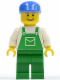 Minifig No: ovr040  Name: Overalls Green with Pocket, Green Legs, Blue Cap, Thin Grin with Teeth
