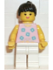 Minifig No: par003  Name: Blue Flowers - White Legs, Black Ponytail Hair