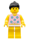 Minifig No: par004  Name: Blue Flowers - Yellow Legs, Black Ponytail Hair